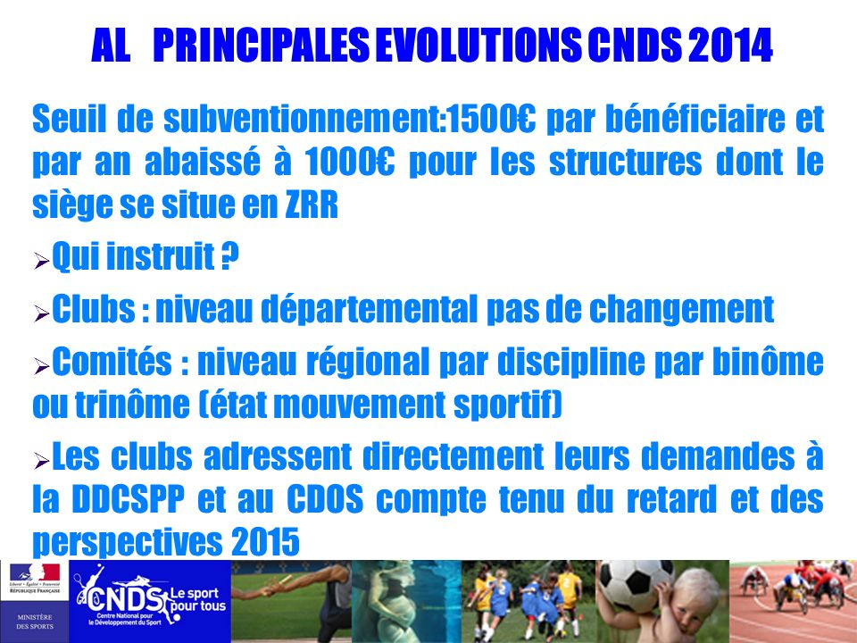 AL PRINCIPALES EVOLUTIONS CNDS 2014