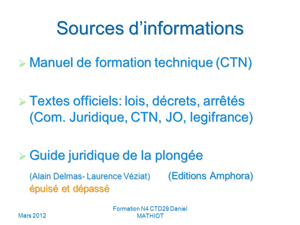Sources d'informations