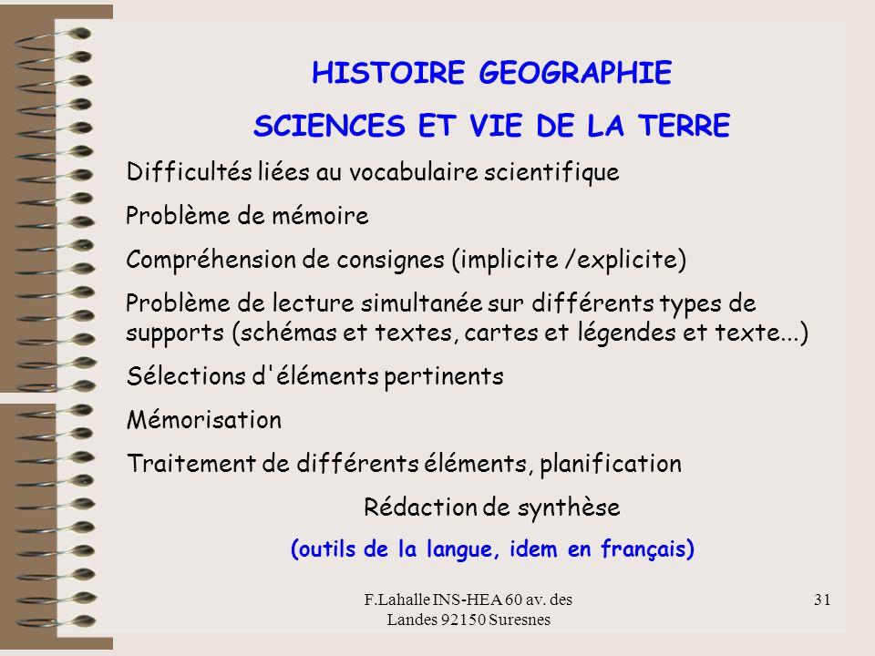 SCIENCES ET VIE DE LA TERRE (outils de la langue, idem en français)