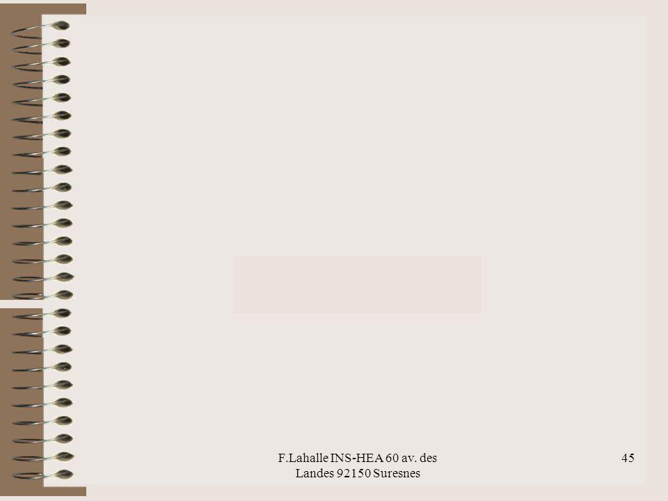 F.Lahalle INS-HEA 60 av. des Landes 92150 Suresnes