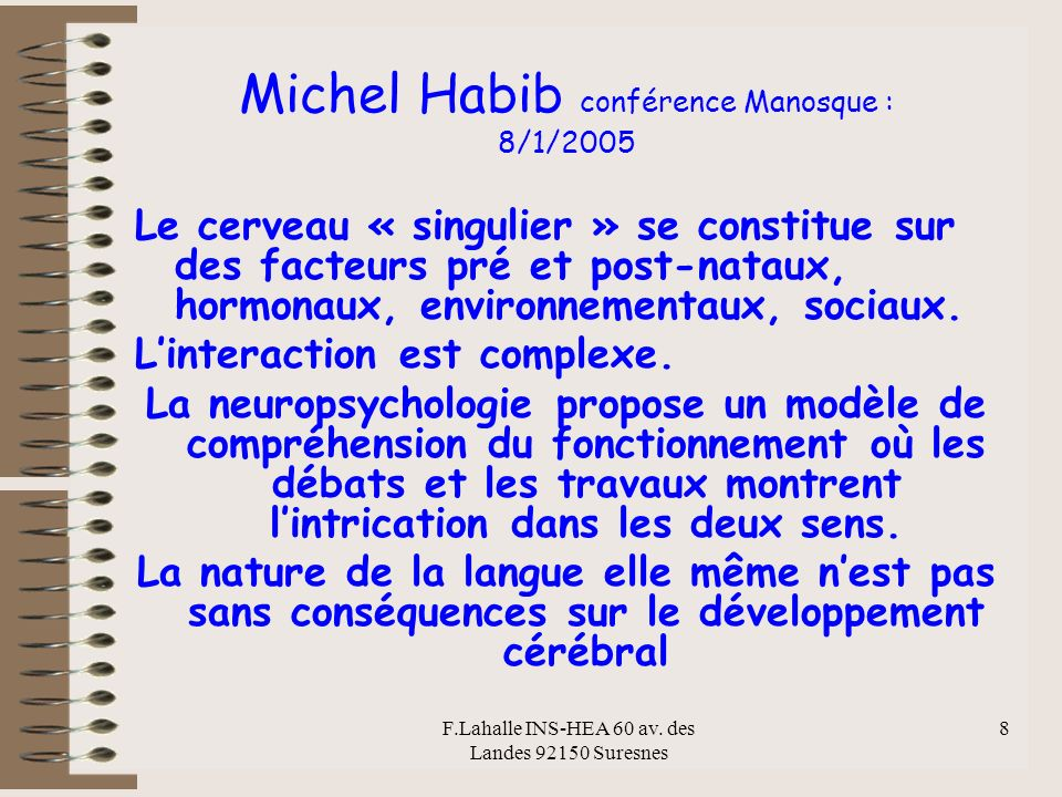 Michel Habib conférence Manosque : 8/1/2005