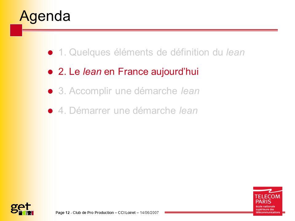 Agenda 1. Quelques éléments de définition du lean
