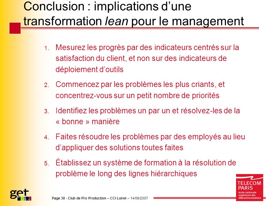 Conclusion : implications d'une transformation lean pour le management