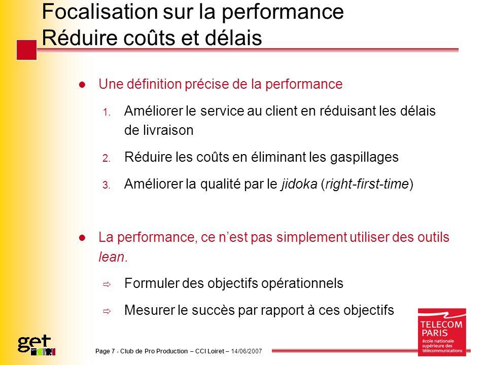 Focalisation sur la performance Réduire coûts et délais