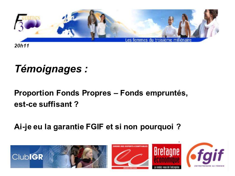 Témoignages : Proportion Fonds Propres – Fonds empruntés,