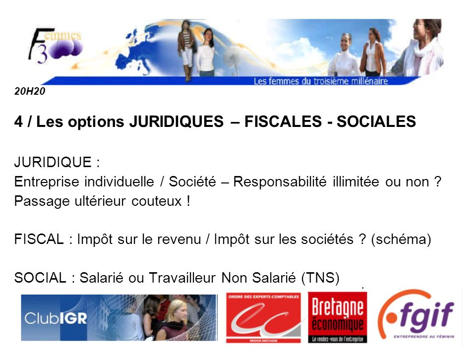 4 / Les options JURIDIQUES – FISCALES - SOCIALES