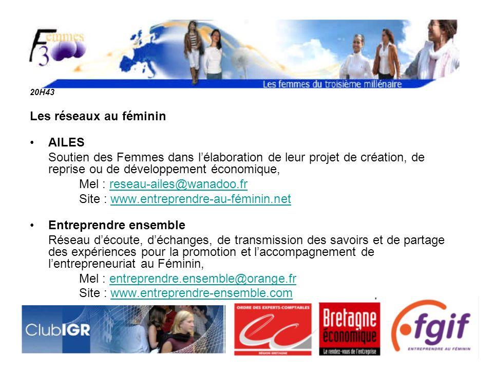 Mel : reseau-ailes@wanadoo.fr Site : www.entreprendre-au-féminin.net