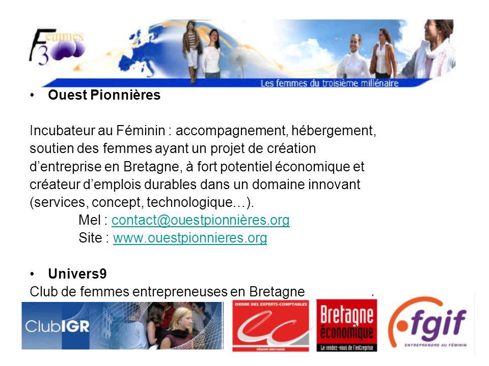 Ouest Pionnières Incubateur au Féminin : accompagnement, hébergement, soutien des femmes ayant un projet de création.