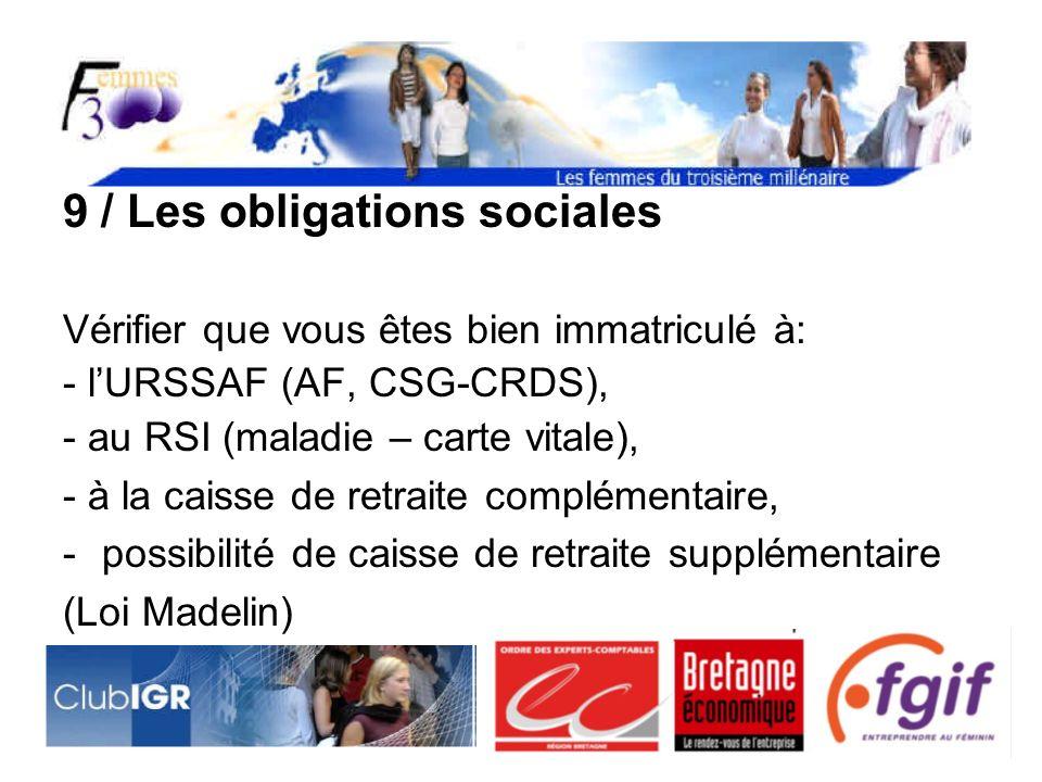 9 / Les obligations sociales