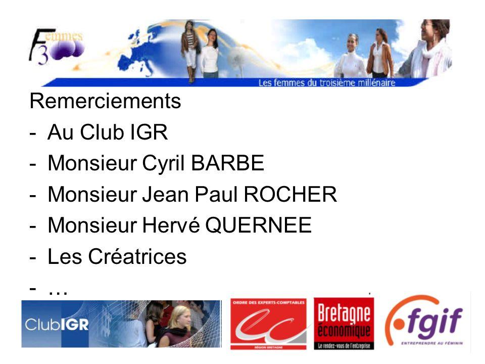 Remerciements Au Club IGR. Monsieur Cyril BARBE. Monsieur Jean Paul ROCHER. Monsieur Hervé QUERNEE.