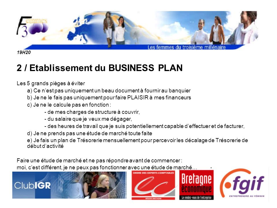 2 / Etablissement du BUSINESS PLAN