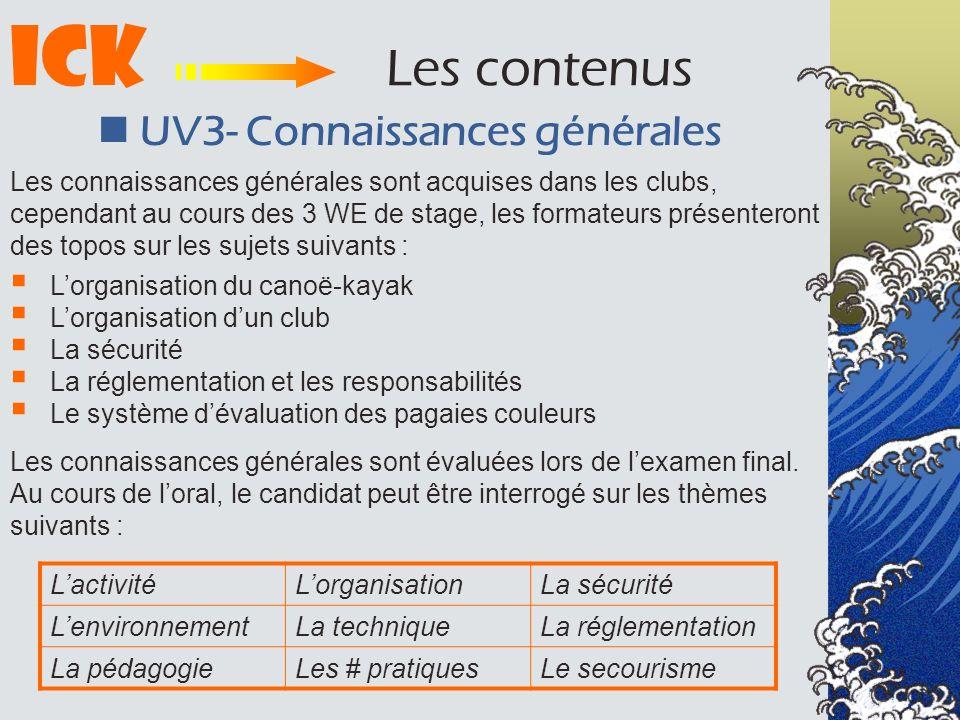 ICK Les contenus  UV3- Connaissances générales