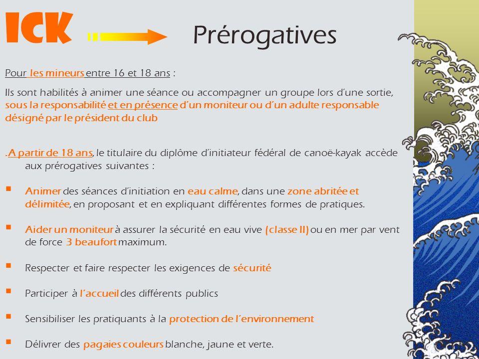 ICK Prérogatives Pour les mineurs entre 16 et 18 ans :