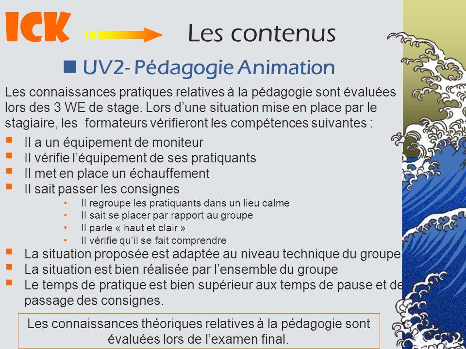 ICK Les contenus  UV2- Pédagogie Animation
