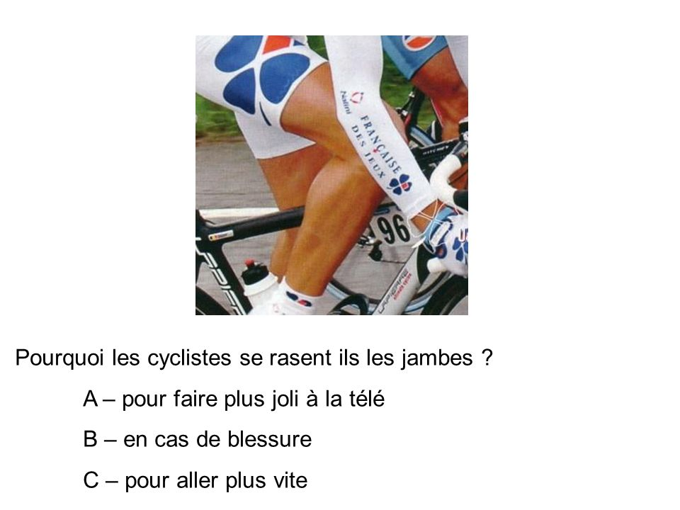 Pourquoi les cyclistes se rasent ils les jambes