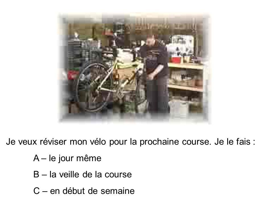 Je veux réviser mon vélo pour la prochaine course. Je le fais :