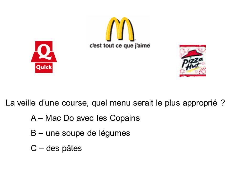 La veille d'une course, quel menu serait le plus approprié