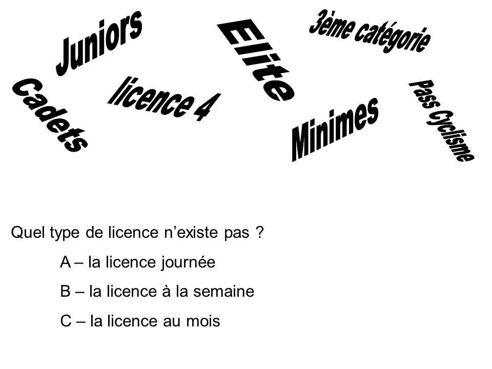 3ème catégorie Juniors Elite licence 4 Pass Cyclisme Cadets Minimes