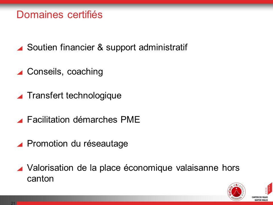Domaines certifiés Soutien financier & support administratif