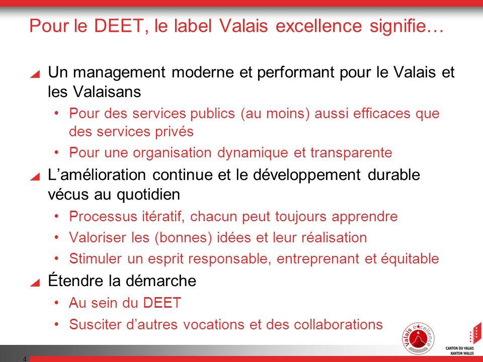 Pour le DEET, le label Valais excellence signifie…
