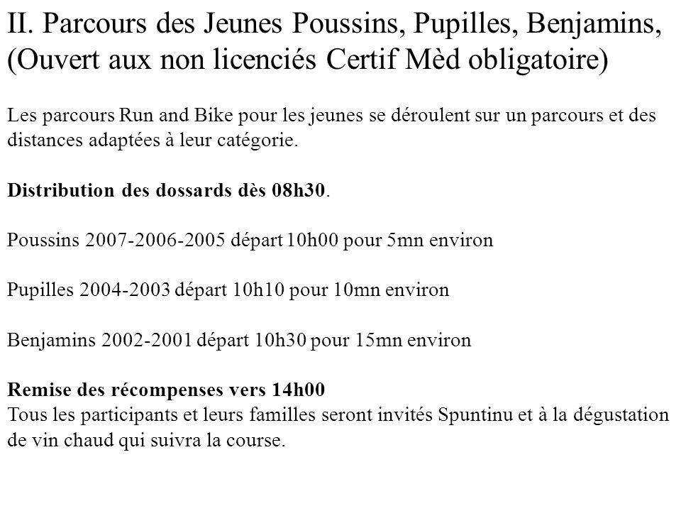 II. Parcours des Jeunes Poussins, Pupilles, Benjamins,