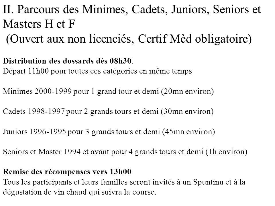 II. Parcours des Minimes, Cadets, Juniors, Seniors et Masters H et F