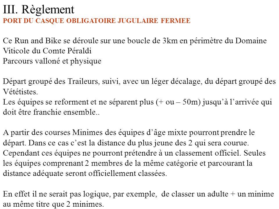 III. Règlement PORT DU CASQUE OBLIGATOIRE JUGULAIRE FERMEE.