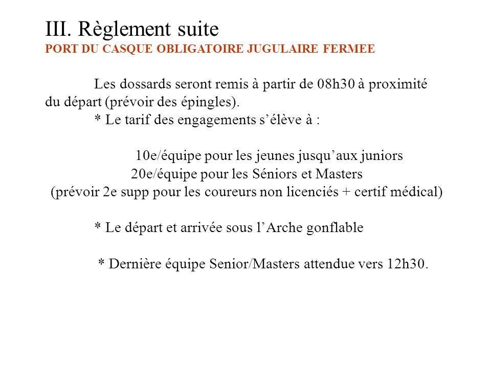 III. Règlement suite PORT DU CASQUE OBLIGATOIRE JUGULAIRE FERMEE.