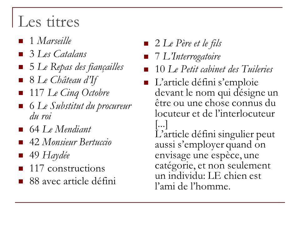Les titres 1 Marseille 2 Le Père et le fils 3 Les Catalans