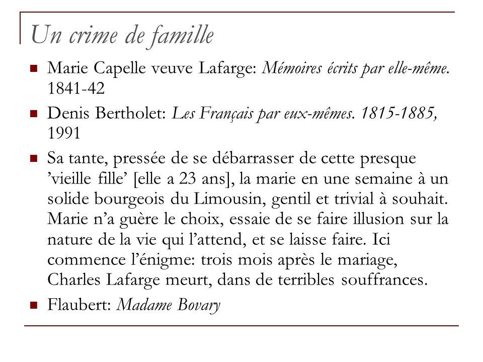Un crime de famille Marie Capelle veuve Lafarge: Mémoires écrits par elle-même. 1841-42.