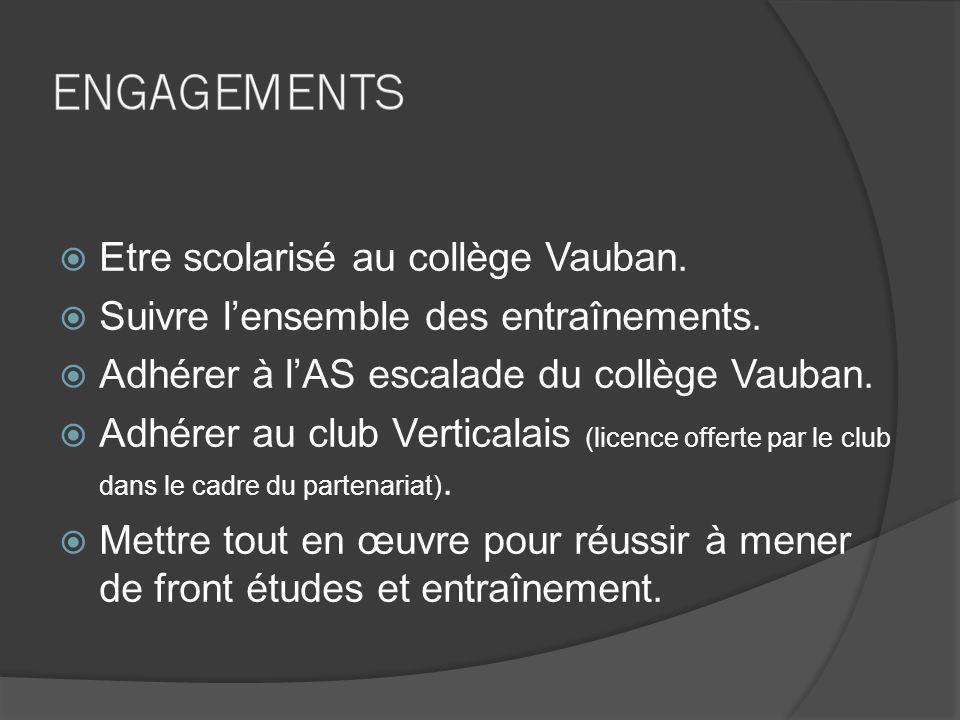 Etre scolarisé au collège Vauban. Suivre l'ensemble des entraînements.