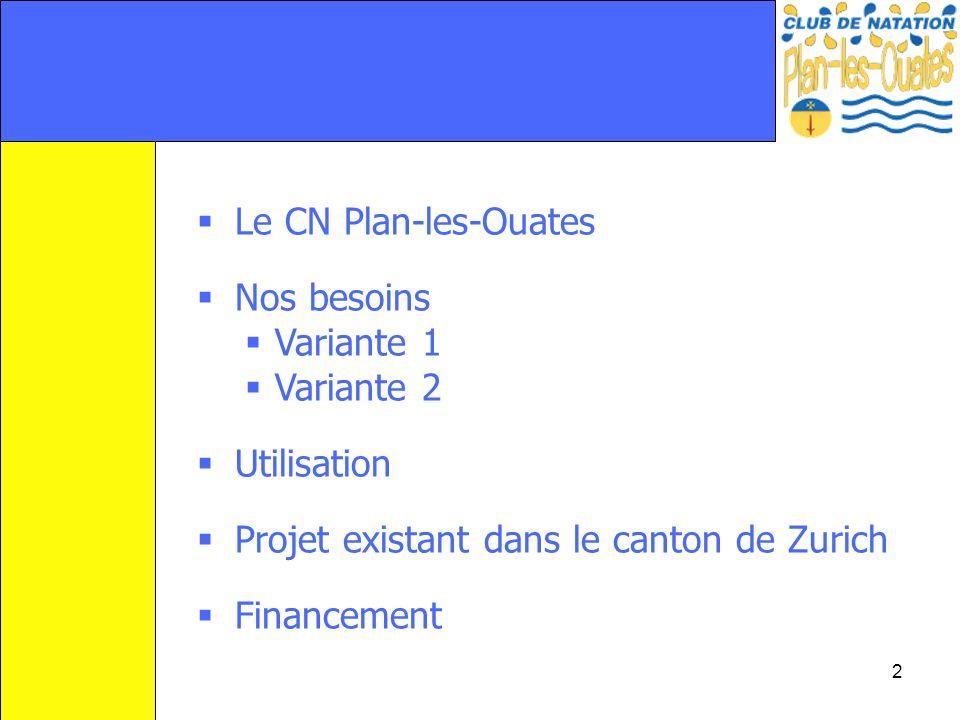 Le CN Plan-les-Ouates Nos besoins. Variante 1. Variante 2. Utilisation. Projet existant dans le canton de Zurich.