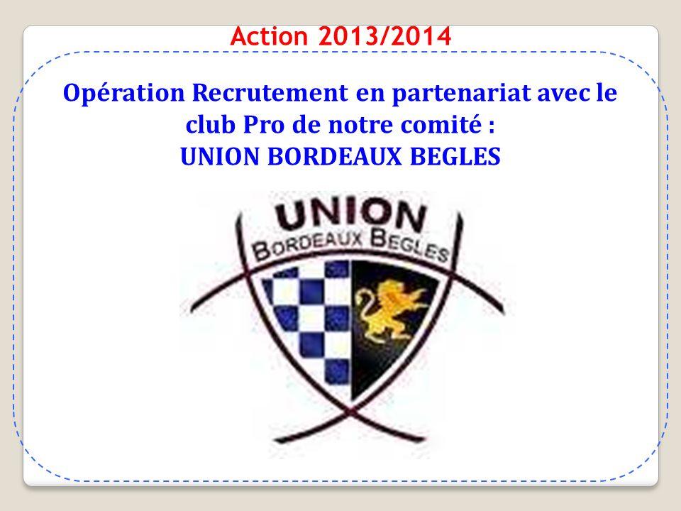 Action 2013/2014 Opération Recrutement en partenariat avec le club Pro de notre comité : UNION BORDEAUX BEGLES.