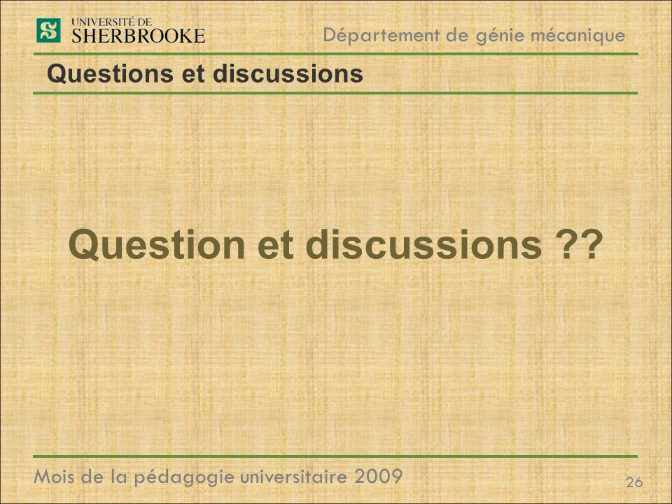 Questions et discussions