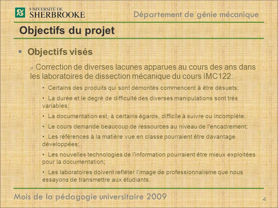 Objectifs du projet Objectifs visés