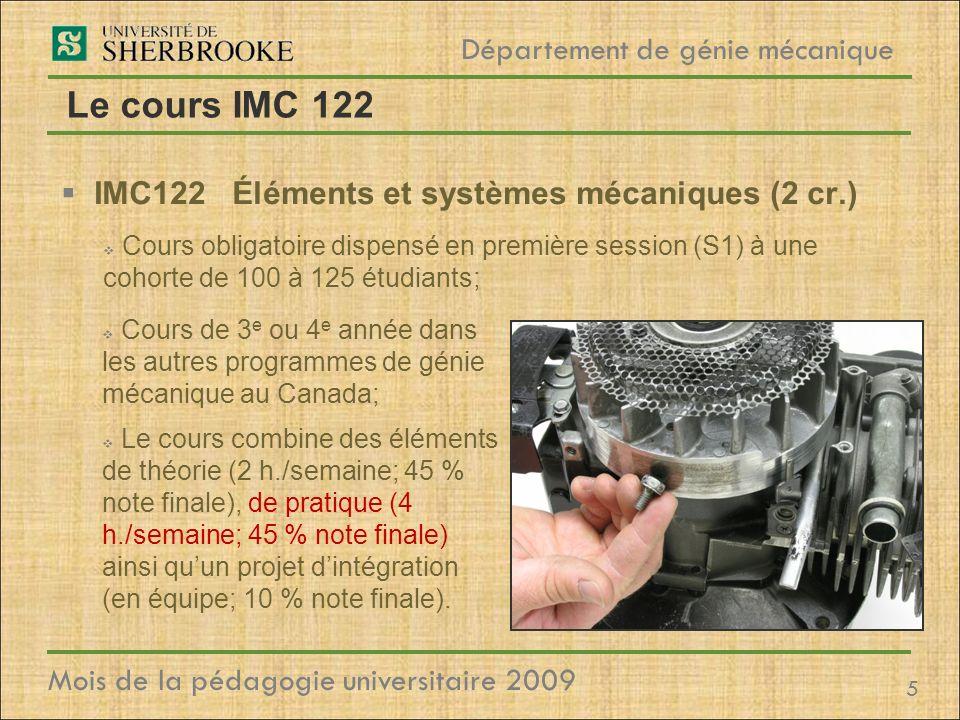 Le cours IMC 122 IMC122 Éléments et systèmes mécaniques (2 cr.)
