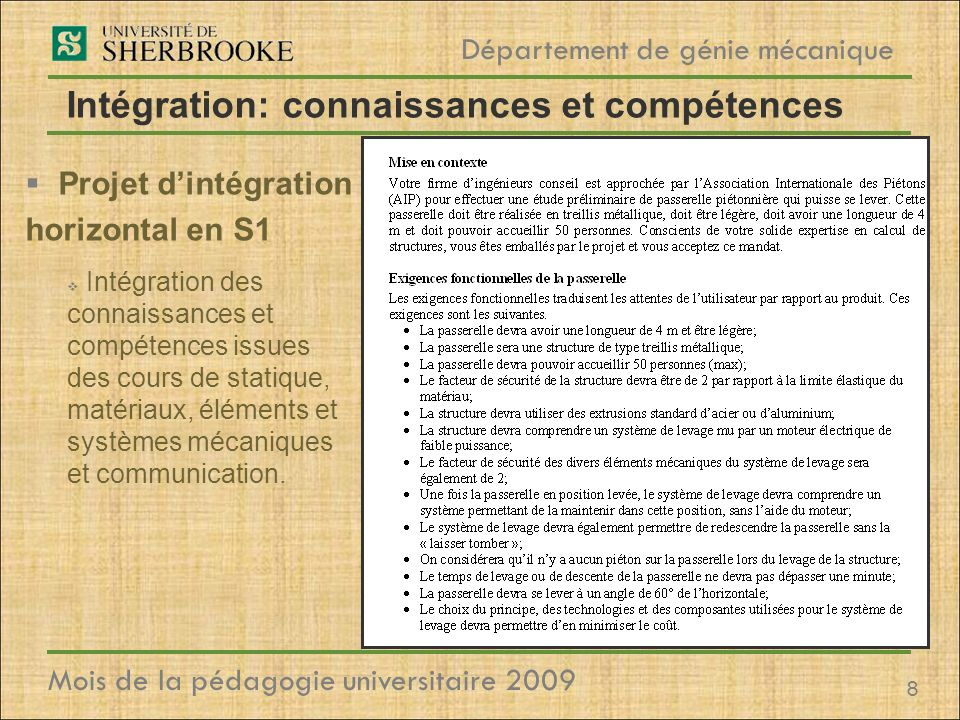 Intégration: connaissances et compétences