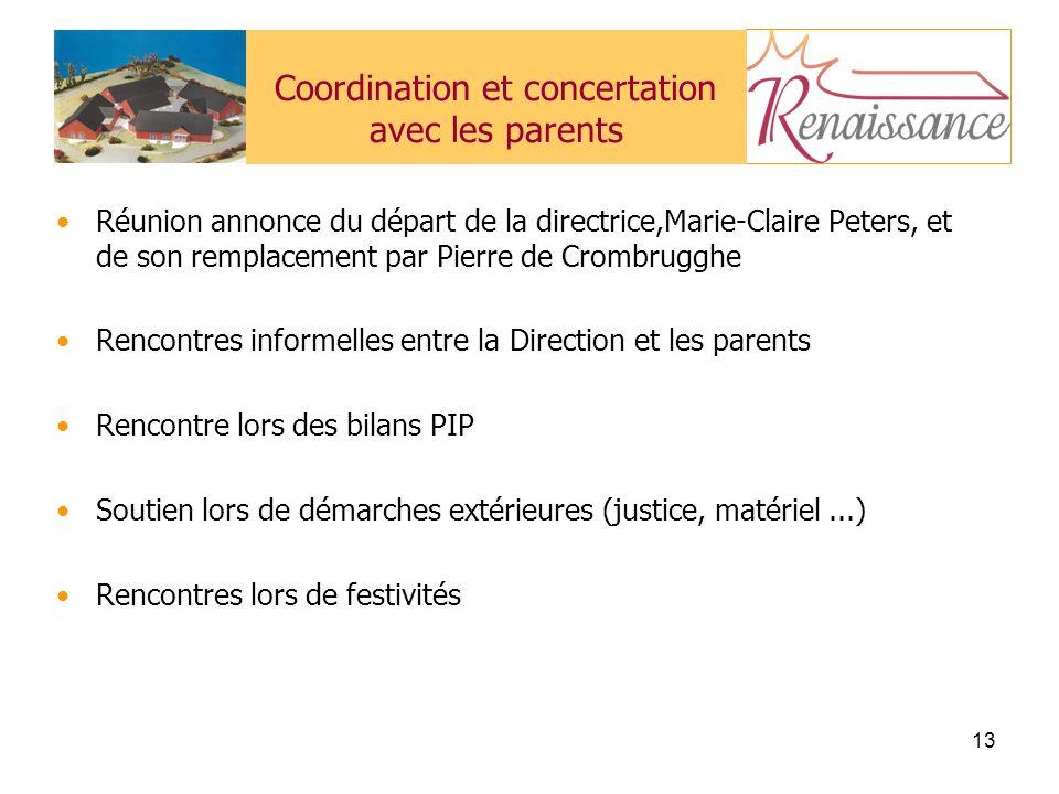 Coordination et concertation avec les parents