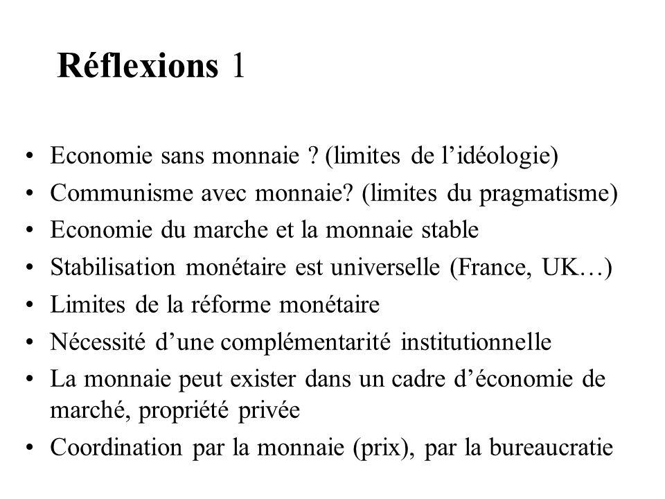 Réflexions 1 Economie sans monnaie (limites de l'idéologie)