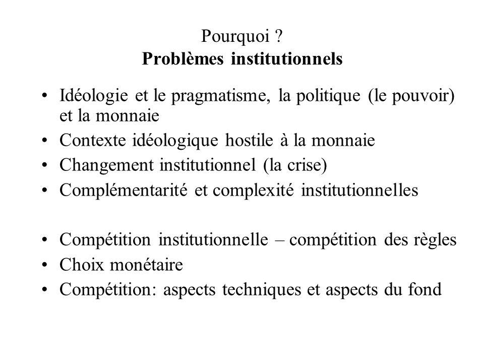 Pourquoi Problèmes institutionnels