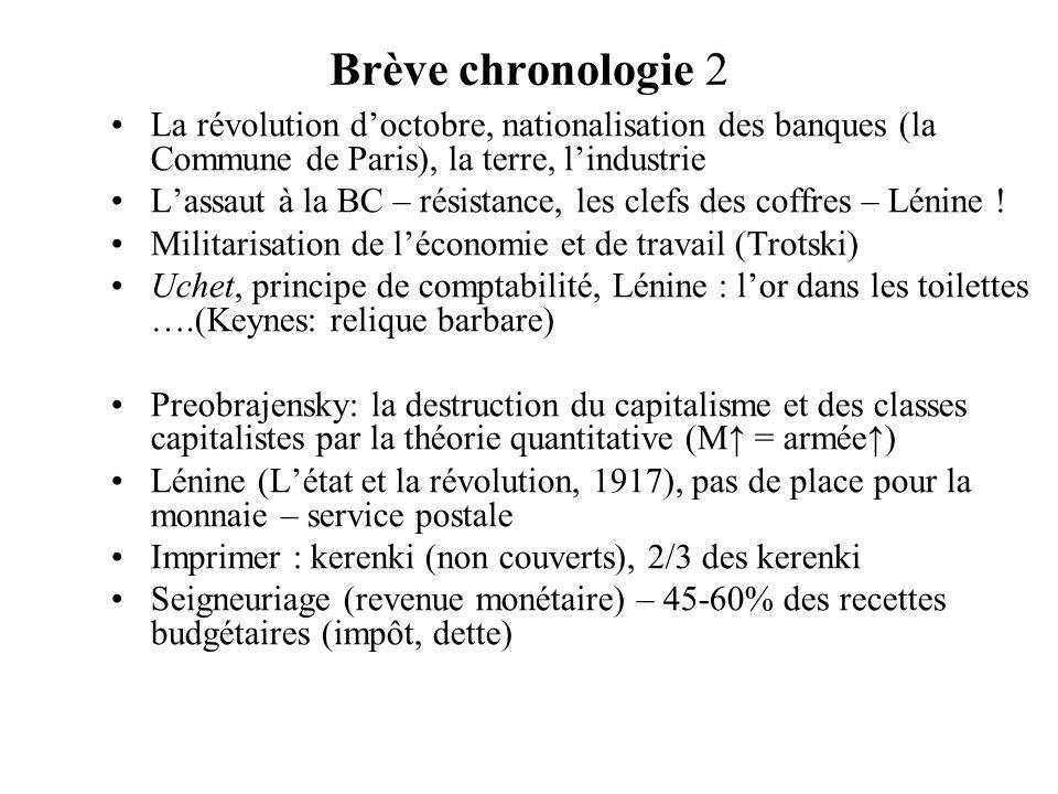 Brève chronologie 2 La révolution d'octobre, nationalisation des banques (la Commune de Paris), la terre, l'industrie.