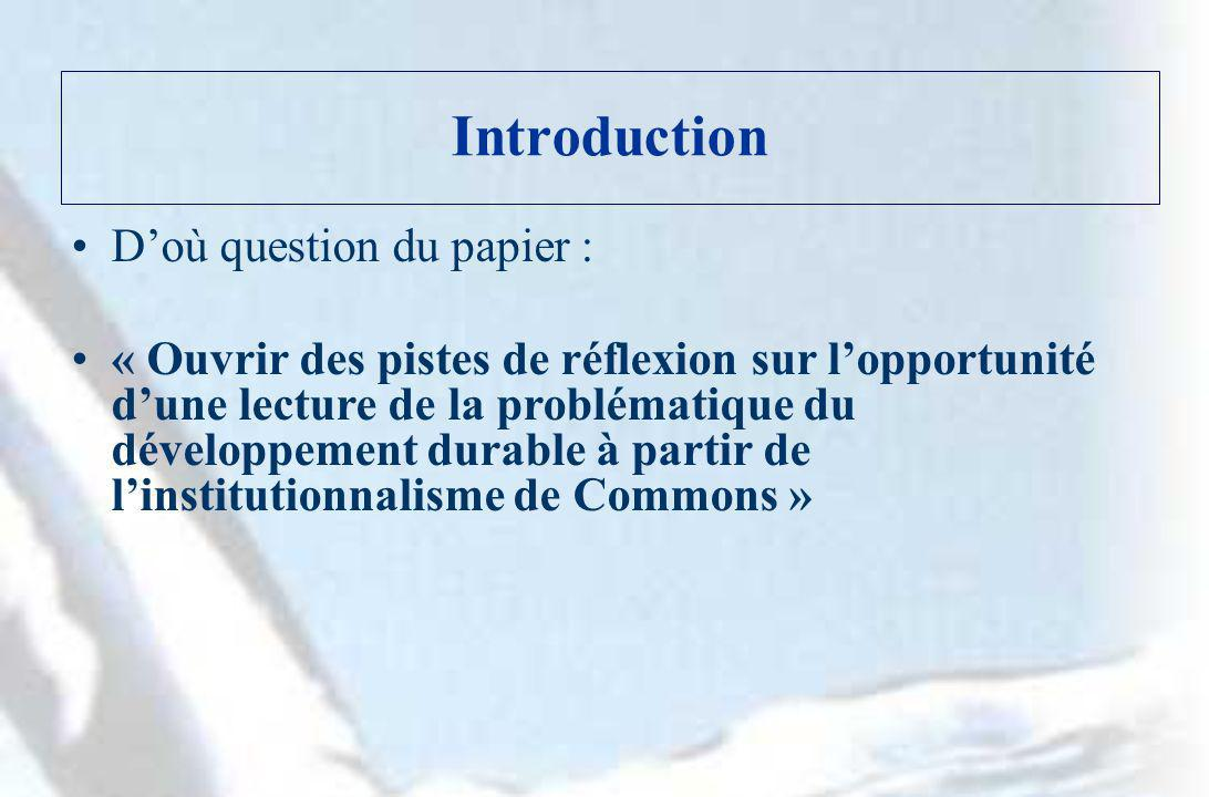Introduction D'où question du papier :