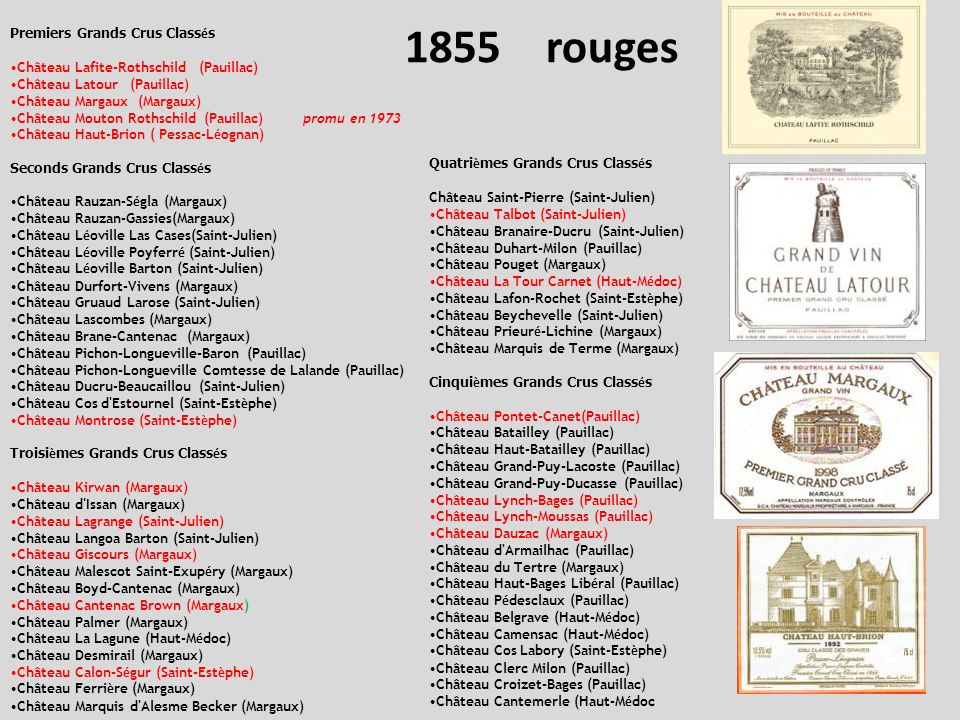 1855 rouges Premiers Grands Crus Classés