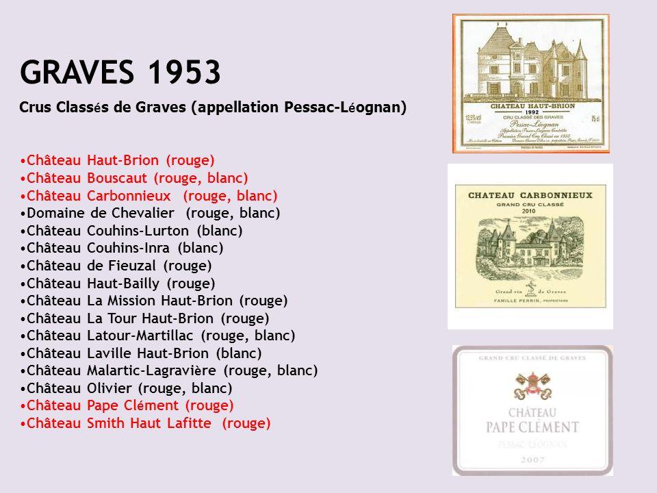 GRAVES 1953 Crus Classés de Graves (appellation Pessac-Léognan)