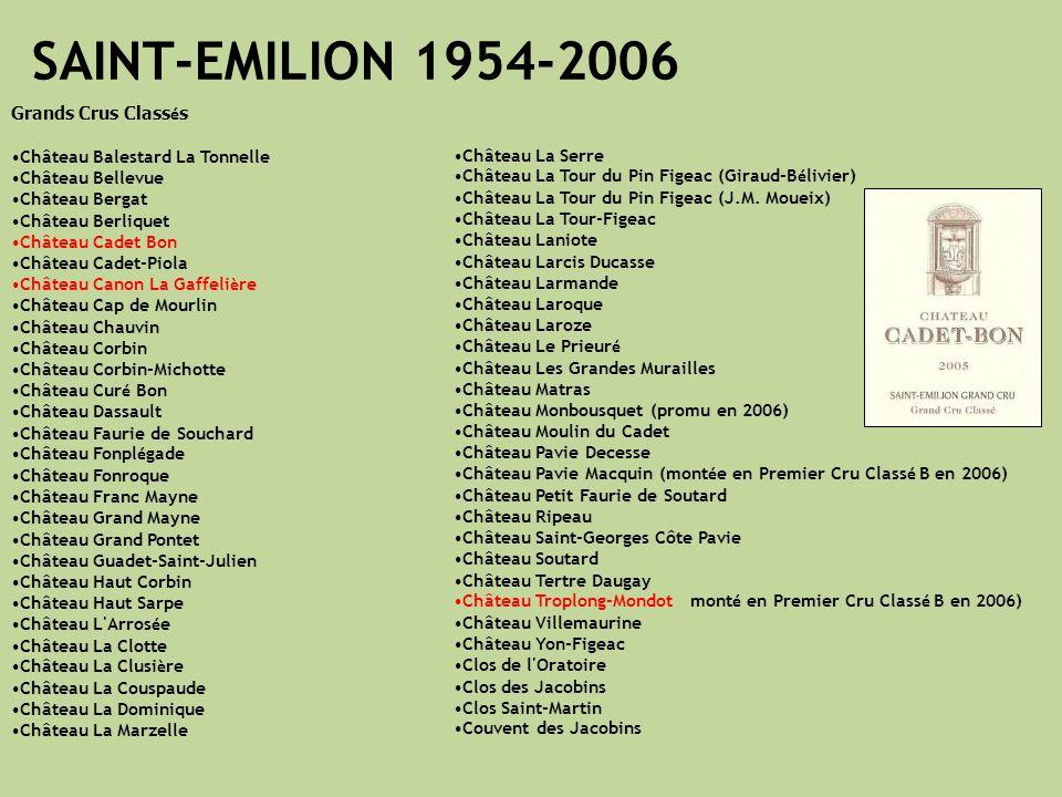 SAINT-EMILION 1954-2006 Grands Crus Classés