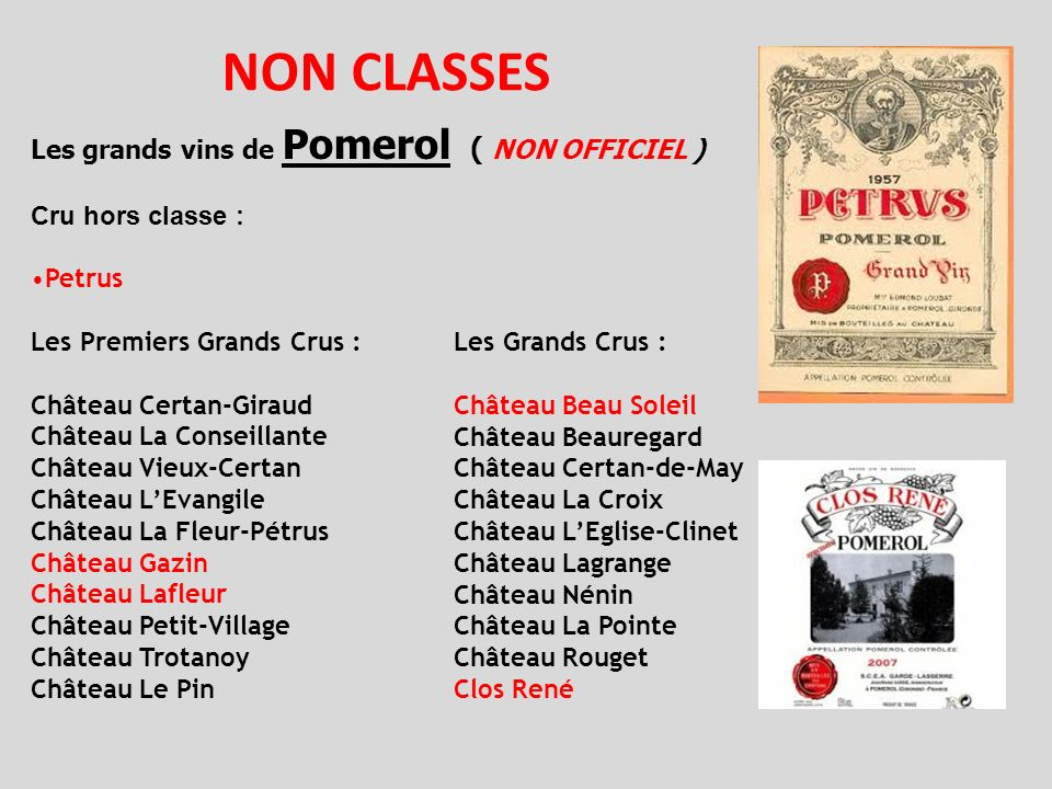 NON CLASSES Les grands vins de Pomerol ( NON OFFICIEL )