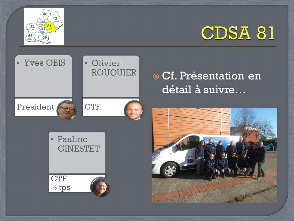 CDSA 81 Cf. Présentation en détail à suivre… Yves OBIS