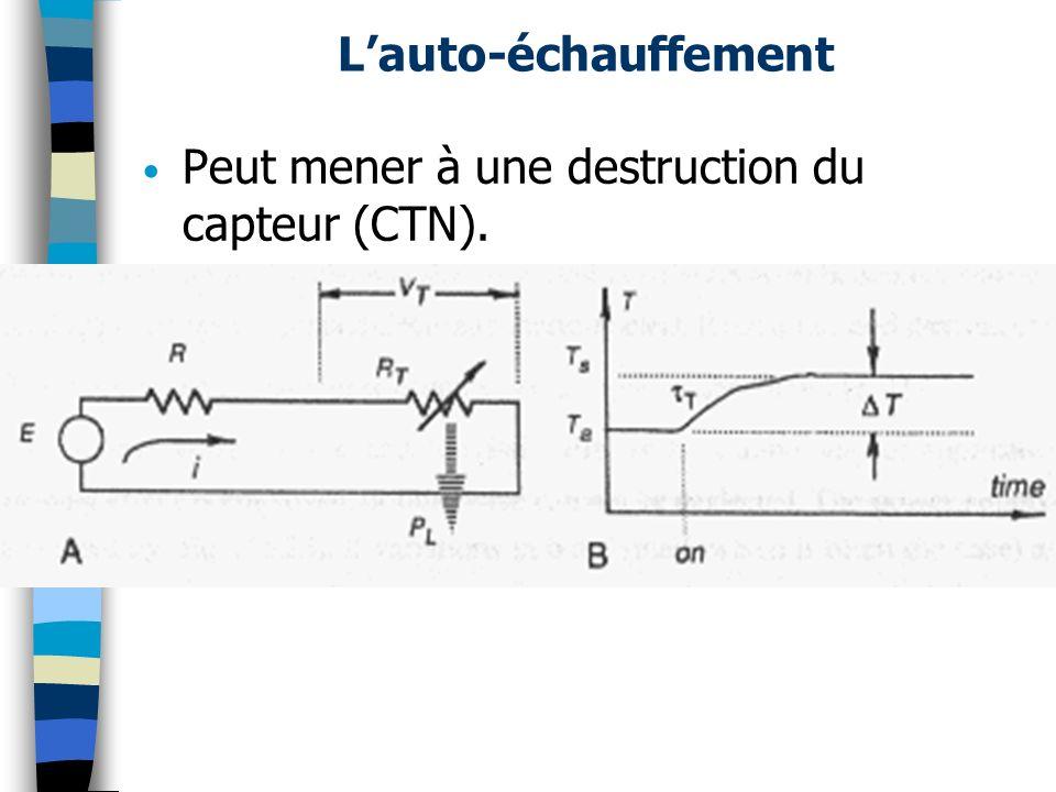 L'auto-échauffement Peut mener à une destruction du capteur (CTN).