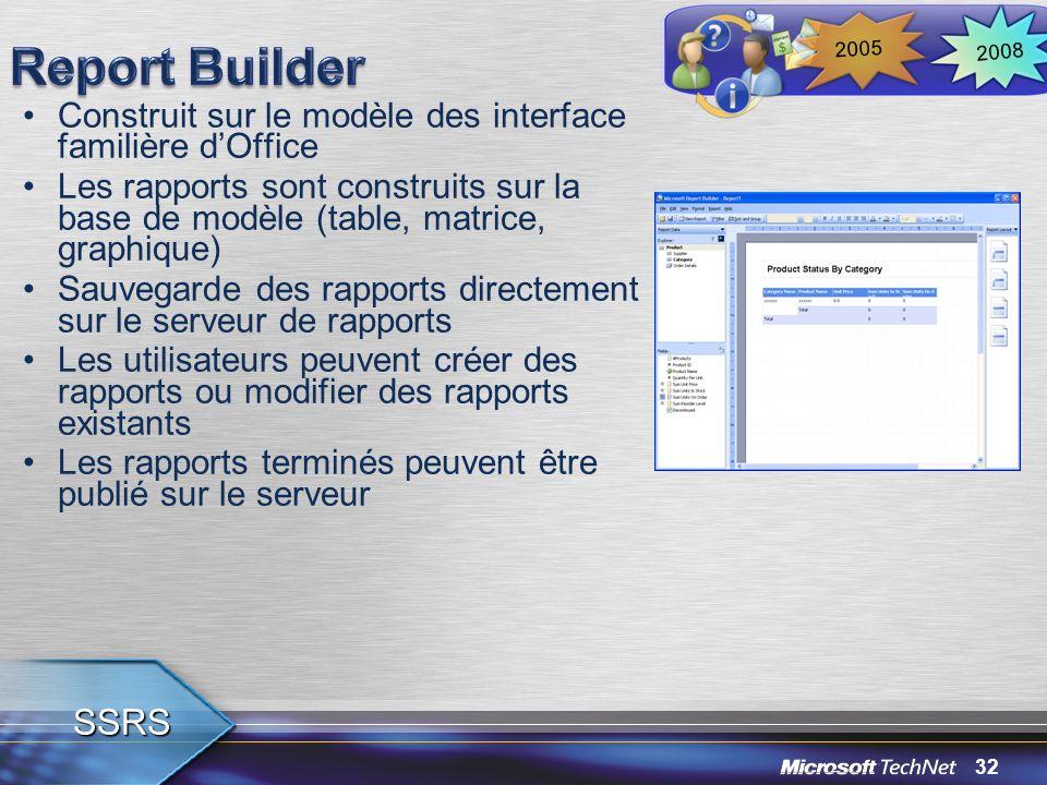 Report Builder 2008. 2005. Construit sur le modèle des interface familière d'Office.