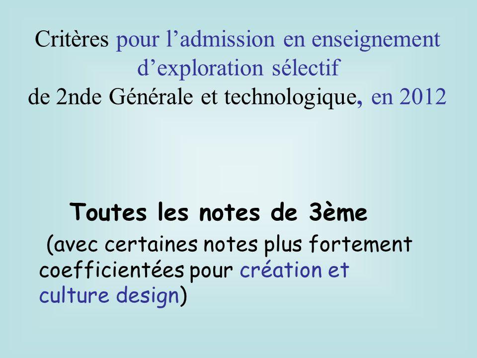Critères pour l'admission en enseignement d'exploration sélectif
